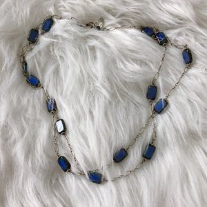 Sterling silver double strand glass bead necklace